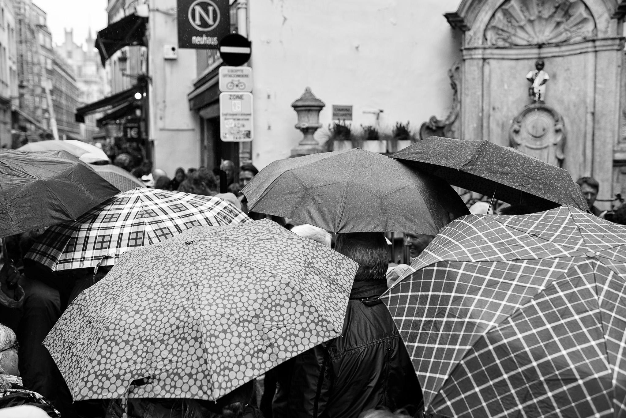 Les ombrelles de Bruxelles devant Mannekenpis